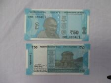 INDIAN Fifty RUPEE Note Bank Bill MAHATMA Gandhi BILL Blue 50 RUPEE Circulated