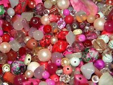 NEW Glass, Gem PINKS 1 /Lb Assorted 6-15mm MIXED LOOSE BEADS MIXTURE (no junk)