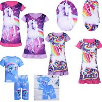 Kid Baby Girls Cartoon Animal Nightdress Sleepwear Nightie Dress Summer Pajamas
