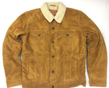 Levis Leather Suede Camel Color Sherpa Trucker Levi Jacket Levis Strauss Levi's