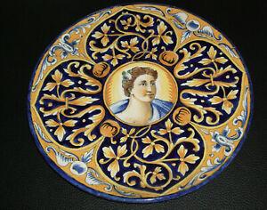 rarer antiker italienischer - Majolika Teller - mit Porträt - Sammlerrarität