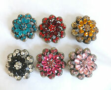 Vintage Look Flower Brooch Different Models/Colours. Crystal Diamante  Hijab Pin