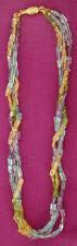 Cadena de Piedras Preciosas 3 Hilos - Collar Amatista Topacio Citrino Multicolor