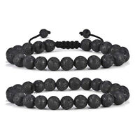 2Pc Natural Lava Rock Stone Stress Relief Anxiety Oil Diffuser Beads Bracelets