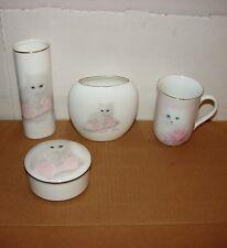 Lot of used Otagiri Bob Harrison Cat w/ Ballet Slipper Trinket Box, Vases, & Cup