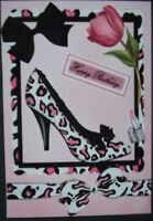 HANDMADE 3-D  BIRTHDAY GREETING CARD  WITH A SENTIMENT  BEAUTIFUL LEOPARD SHOE