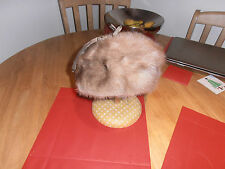 1960s Ladies Beret Style Fur Hat 6 7/8