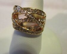 AVON Pave` Crisscross Goldtone Ring with Rows of Rhinestones    Size 6