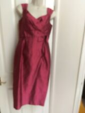PADDY CAMPBELL wine red silk dress with jacket wedding occasion races, UK10