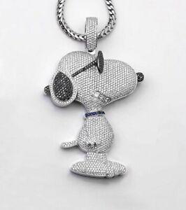 Iced Out Snoopy Dog Cartoon Moissanite Round VVS Diamonds 14k White Gold Finish