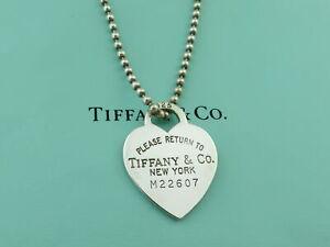 TIFFANY & CO Silver Return to Tiffany Heart Tag Long Beaded Chain Necklace