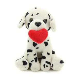 Plushland Cute Puppy Dog with Red Heart for Valentine's Day 10 inches Dalmatian