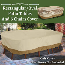 """130""""L Patio Waterproof Rectangular Oval Furniture Set Cover Outdoor Table Chairs"""