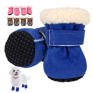 Anti-slip Dog Shoes Winter Pet Puppy Dog Boots Booties Fleece Warm Lined Socks