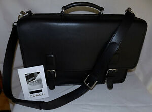 COACH Genuine Leather Handcrafted THOMPSON Briefcase Bag-Black-Laptop slot-Great