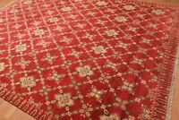 """8'10"""" x 11'8"""" Hand Knotted 100% Wool Vegetable Dyes Traditional Area Rug Red"""