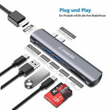 USB C Hub 7-in-1 Type C Adapter 3.0 Thunderbolt 4K HDMI PD SD TF Card Reader Mac