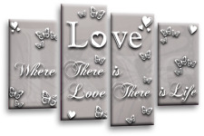 LOVE QUOTE ART PICTURE POWDER GREY WHITE HEART WALL CANVAS SPLIT PANEL 44""