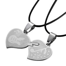 2p Stainless Steel Guitar Couple Necklace Set Pair Music Note I Love You Jewelry