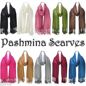 BRAND NEW PASHMINA SOFT FEEL SCARVES PLAIN SOLID COLOUR SCARF WRAP WITH TASSELS