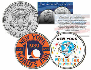 WORLD'S FAIR NEW YORK 1939 1964 Anniversary 2014 JFK Half Dollar U.S. 2-Coin Set