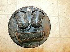 Vintage Round Painted Tin Wall Wallmount Double Match Holder w Striker Primitiv