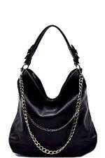 New Black Double Layered Chain Accent Hobo Handbag Purse
