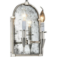 WALL SCONCE POLISHED NICKEL GOTHIC MIRROR DINING ROOM BEDROOM FOYER 2 LIGHT 14""