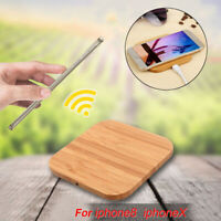 Qi Wireless Charger Charging Slim Bamboo Wood Pad Mat Cell For iPhone 8 8 Plus X