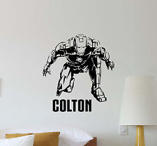 Personalized Iron Man Wall Decal Avengers Superhero Vinyl Sticker Art Poster 434