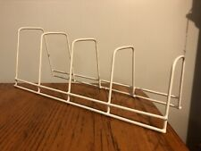 Vtg White Rubber Coated Kitchen Wire Plate & Lid Rack Organizer Store Display