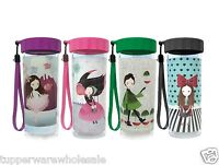 New Tupperware Flower Fairy Flask 410ml, 1 Set of 4, Round