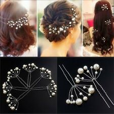 PD:2x Weiß Perlen Mode Haarnadeln Haarschmuck Hochzeit Brautschmuck Tiara Diadem