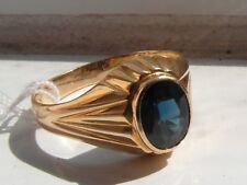 Q114 Stunning Gents 18ct gold 1.25 ct blue top quality Sapphire ring size S