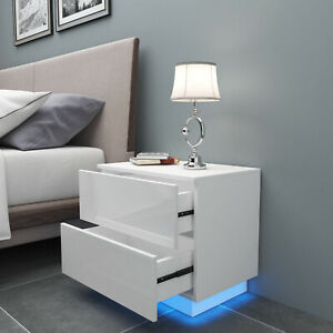 High Gloss Bedside Table Cabinets RGB Light Chest of Drawers Bedroom Black&White