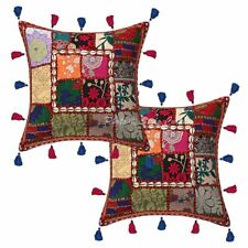 Traditional Cotton Patchwork Kodi Tassels Pillow Cases Indian Cushion Cover 16""