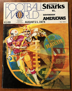 RARE 1974 WFL Program Jacksonville Sharks vs Birmingham Americans