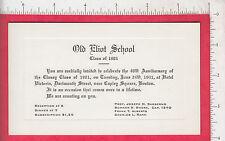 7698 Old Eliot School 1941 engraved invitation Class of 1901 40th reunion Boston