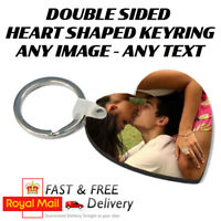 Personalised Photo Heart Shaped Keyring Double Sided - FREE 1ST CLASS POSTAGE
