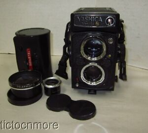 VINTAGE YASCHICA Mat 124 G TLR CAMERA YASHINON LENS f80mm + AUX TELEPHOTO LENS