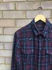 All Saints Red Check Shirt Flannel Wool Small  Overshirt Vintage 90s Skater