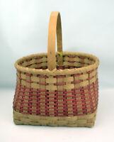 Primitive Antique Split Oak Woven Basket hand made in 2000 Artist Signed ESL200U