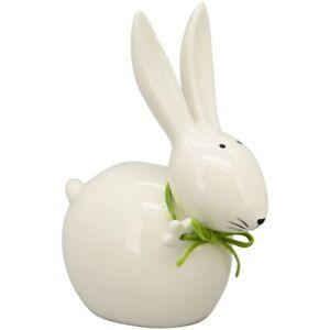 Osterhase mit süßem Gesicht grüner Schleife weiß Hase Osterdeko