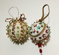 Vintage Lot Of 2 Handmade Beaded Push Pin Styrofoam Christmas Ornaments