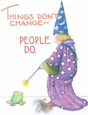 People Change Wizard Frog Wand-Handcrafted Fridge Magnet-w/Mary Engelbreit art