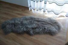 Grey double icelandic sheepskin rug, carpet natural genuine