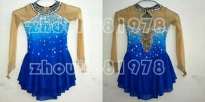 New Girls Women Ice Figure Skating Dress For Competition blue dyeing handmade