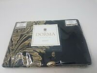Dunelm Dorma Blenheim Black Gold Woven Damask Jacquard Pillowcase Pair