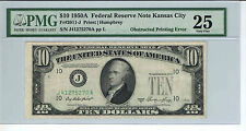 Error $10 1950A Obstructed Printinting-Missing Serial Seal Stamp Pmg25 Vf Kansas