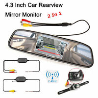 "4.3"" Car TFT LCD Monitor Mirror+Wireless Reverse Car Rear View Backup Camera US"